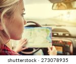 Girl In Car With Roads Map