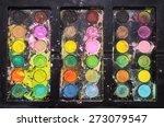 kids messy watercolor paints... | Shutterstock . vector #273079547