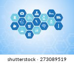 medical background and icons to ... | Shutterstock .eps vector #273089519