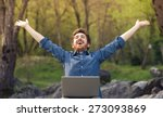 happy cheerful hipster man with ... | Shutterstock . vector #273093869
