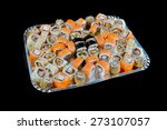 delicious sushi rolls  on black ... | Shutterstock . vector #273107057