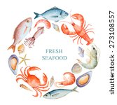 watercolor set of seafood from... | Shutterstock .eps vector #273108557