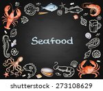 Watercolor Set Of Seafood From...