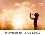 woman throwing paper plane... | Shutterstock . vector #273112439