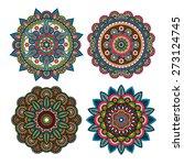 vector yoga meditation round... | Shutterstock .eps vector #273124745