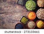 bowls of various legumes ... | Shutterstock . vector #273133661