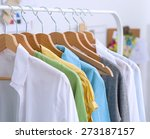 clothes hang on a shelf in ... | Shutterstock . vector #273187157