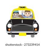 happy cartoon characters in taxi | Shutterstock .eps vector #273239414