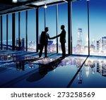 businessmen shaking hands... | Shutterstock . vector #273258569