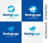 Stock vector horse racing blue and dark blue vector logo variations 273261461