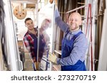 two smiling workmen with... | Shutterstock . vector #273270719