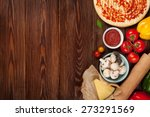 pizza cooking ingredients.... | Shutterstock . vector #273291569