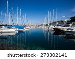 yachts moored in the harbor on... | Shutterstock . vector #273302141