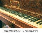 Closeup Of Antique Piano Keys...