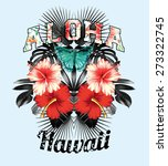 slogan aloha hawaii illustrated ...   Shutterstock .eps vector #273322745