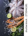 raw langoustine  mussels and... | Shutterstock . vector #273346181