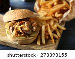 tasty burger and french fries... | Shutterstock . vector #273393155