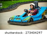 cute asian thai girl is driving ... | Shutterstock . vector #273404297