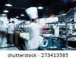 modern kitchen and busy chefs... | Shutterstock . vector #273413585