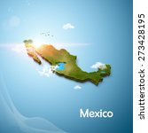 realistic 3d map of mexico | Shutterstock . vector #273428195