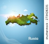 realistic 3d map of russia | Shutterstock . vector #273428231