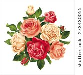 bouquet with multicolored roses.... | Shutterstock .eps vector #273430055