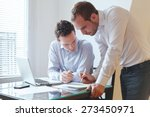 teamwork  two businessmen... | Shutterstock . vector #273450971