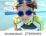 child  kid  diving and swimming ... | Shutterstock . vector #273456401