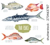 thai fishes. vector watercolor... | Shutterstock .eps vector #273463787