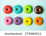 colorful donuts on a blue... | Shutterstock . vector #273484511