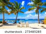 beautiful caribbean beach on... | Shutterstock . vector #273485285