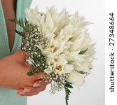 bouquet of white tulips - stock photo