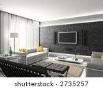 modern interior. 3d render.... | Shutterstock . vector #2735257