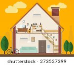 house interior. vector flat... | Shutterstock .eps vector #273527399