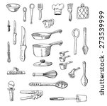 hand drawn cookware set... | Shutterstock .eps vector #273539999