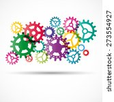 Abstract Colorful Gears With...