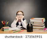 school child boy in glasses... | Shutterstock . vector #273565931