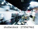modern kitchen and busy chefs...   Shutterstock . vector #273567461
