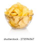 Potato Chips In Glass Bowl...