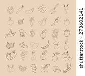 flat icon of set with fruit and ... | Shutterstock .eps vector #273602141
