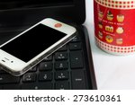 smartphone on computer and... | Shutterstock . vector #273610361