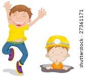 illustration of 2 cartoon kids   Shutterstock .eps vector #27361171