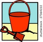 bucket and shovel beach toys | Shutterstock . vector #27364222
