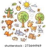 set of cute and simple cartoon... | Shutterstock .eps vector #273644969