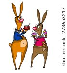 two rabbits in suits drinking... | Shutterstock .eps vector #273658217
