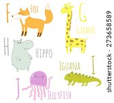 cute zoo alphabet in vector. f  ... | Shutterstock .eps vector #273658589