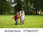 happy family playing together... | Shutterstock . vector #273663137