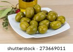 Green Olives In The Bowl With...