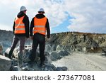 two workers and quarry in... | Shutterstock . vector #273677081