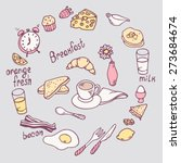 hand drawn breakfast item set. ...   Shutterstock .eps vector #273684674